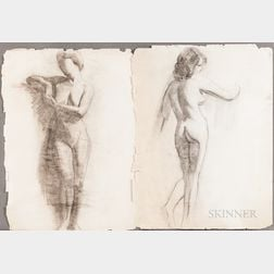 American School, 20th Century      Six Unframed Charcoal Drawings.
