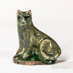 Mottled Green Glazed Redware Cat