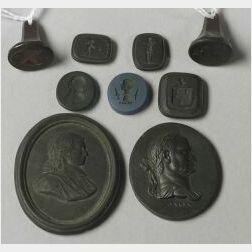 Nine Black Basalt Medallions and Intaglios