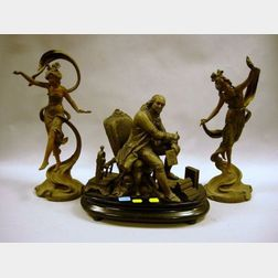 Pair of Art Nouveau Patinated Cast Metal Figures and a Ben Franklin Figural Group