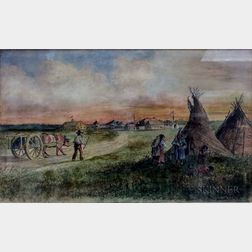 American School, 19th Century      Oxen and Native American Settlement, Red River Area