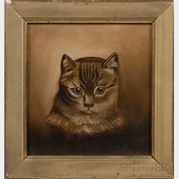 American School, 19th Century      Portrait of a Tabby Cat.