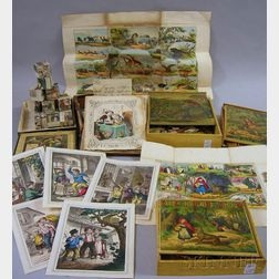 Five Boxed Victorian Hand-colored Lithograph and Wood Puzzles