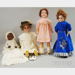 Four Large AM Bisque Head Dolls