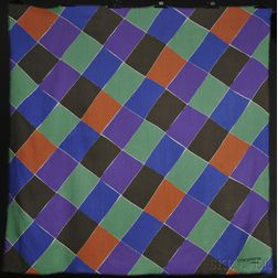 "Multicolored Sonia Delaunay-Terk Shawl Entitled ""A Damiers,"""