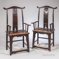 Pair of Hardwood Yoke-back Chairs