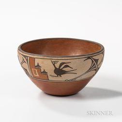 Contemporary Southwest Polychrome Pottery Bowl