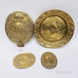 Three Continental Repousse Brass Plaques and a Wall Sconce