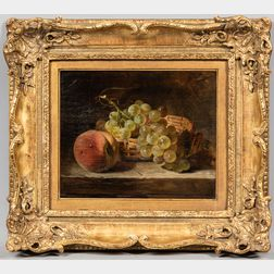 James Poulton (British, fl. 1844-1859)      Still Life with Peaches and Grapes.