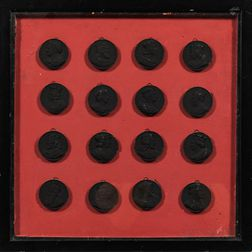 Set of Sixteen Black Painted Portrait Medallions