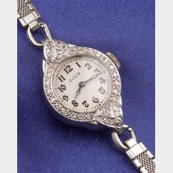 Art Deco Lady's Platinum and Diamond Wristwatch, Elgin