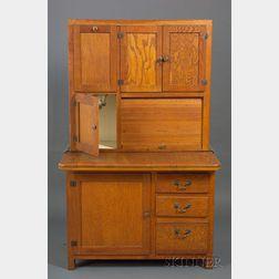Oak Two-part Hoosier Cabinet.