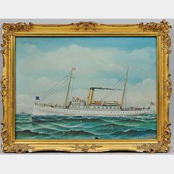Otto Muhlenfeld (American, 1871-1907)      Steamer at Sea