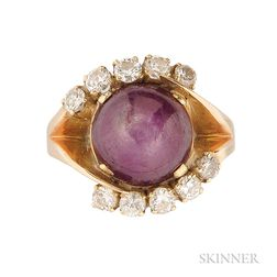 14kt Gold, Star Ruby, and Diamond Ring