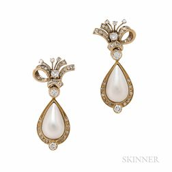 18kt Gold, Mabe Pearl, and Diamond Day/Night Earrings