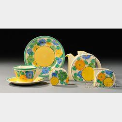 Five-piece Clarice Cliff Bizarre Ware Partial Tea Set