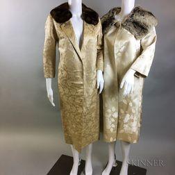 Two Silk Brocade Coats with Fur Collars