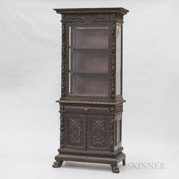 Renaissance-style Carved and Glazed Walnut Cupboard