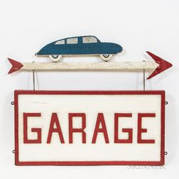 Painted Wooden and Metal Garage Trade Sign