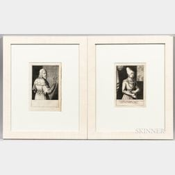 German School, 17th Century      Two Portrait Engravings of Aristocrats: Bearded Man with Right Arm Raised