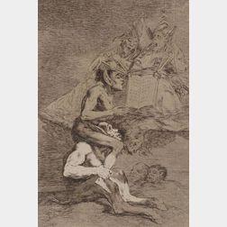Francisco José de Goya y Lucientes (Spanish, 1746-1828)    Lot of Two Plates from LOS CAPRICHOS:  Todos Caeran