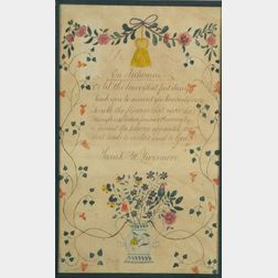 Sarah W. Livermore (American, 19th Century)    An Illustrated Poem Entitled On Autumn.