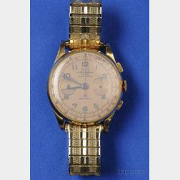 "18kt Gold ""Antimagnetic"" Chronograph Wristwatch, Egona"