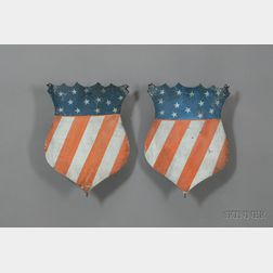 Pair of Painted Tin American Shields