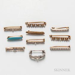 Ten Gold Lingerie Pins