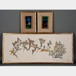 Leonardo M. Nierman (American, b. 1932)      Three Abstract Works: Untitled, White Castle