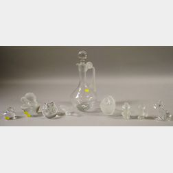 Eight Continental Frosted Art Glass Figures and a Decanter