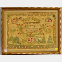 1828 Clarissa H. Slingluff Needlework Sampler