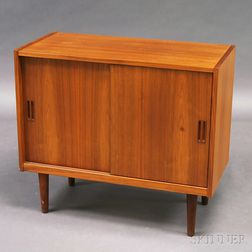 Mid-century Modern Teak Veneer Record Cabinet