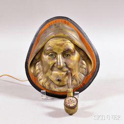 Electrified Brass and Wood Sailor-form Cigar Lighter