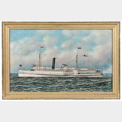 Antonio Nicolo Gasparo Jacobsen (New York/New Jersey/Denmark, 1850-1921)      Portrait of the Paddlewheel Steamer Edgemont