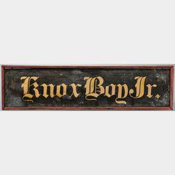 "Painted ""Knox Boy Jr."" Sign"