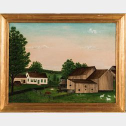 American School, 20th Century      Primitive Painting of a Vermont Farm
