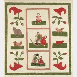 Embroidered and Appliqued Cotton Quilt