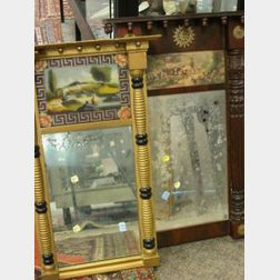 Classical Revival Carved Mahogany Tabernacle Mirror and a Giltwood and Reverse Paint Painted Tabernacle Mirror.