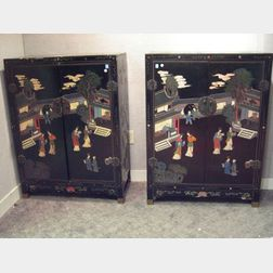 Pair of Chinese Black Lacquer Two-Door Cabinets.