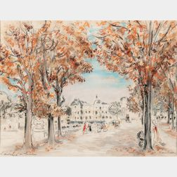 André Hambourg (French, 1909-1999)      L'automne au Luxembourg