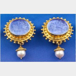 18kt Gold, Glass, and Cultured Pearl Earclips, Elizabeth Locke