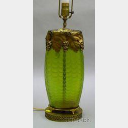 Art Nouveau Gilt-metal Mounted Loetz-type Iridescent Green Glass Vase Table Lamp