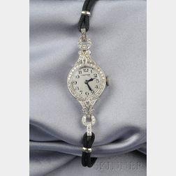 Lady's Art Deco Platinum and Diamond Wristwatch