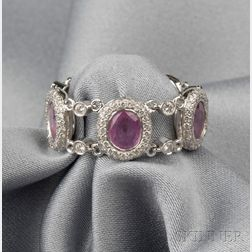 18kt White Gold, Pink Sapphire, and Diamond Flexible Ring