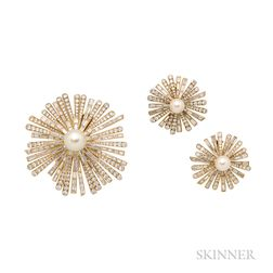 18kt Gold, Diamond, and Cultured Pearl Brooch and Earclips, Cartier