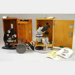 Two Cased Microscopes and an Auxiliary Light