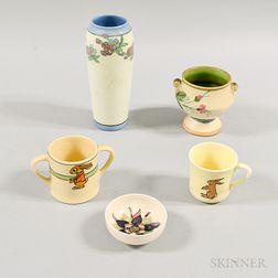 Rookwood Vase, Two Roseville Mugs, a Moorcroft Dish, and a Weller Footed Vase