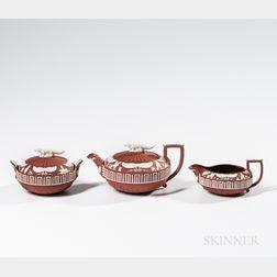 Three-piece Wedgwood Rosso Antico Egyptian Tea Set
