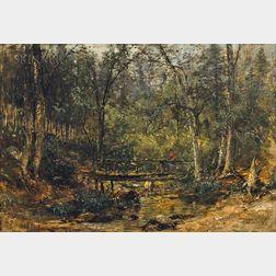 Samuel Lancaster Gerry (American, 1813-1891)      Rustic Bridge Over a Woodland Stream